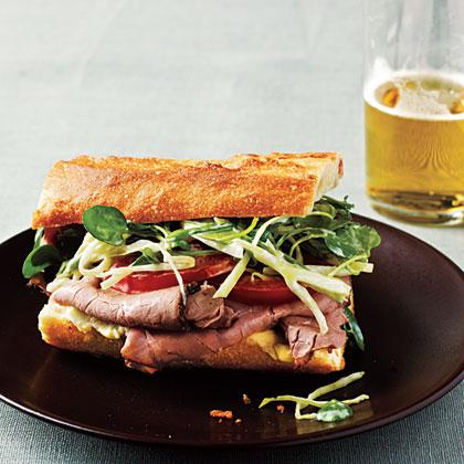 Roast Beef Sandwiches with Watercress Slaw