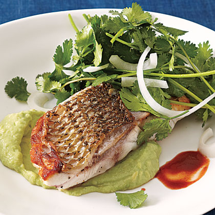 Striped Bass with Cilantro-Onion Salad Recipe