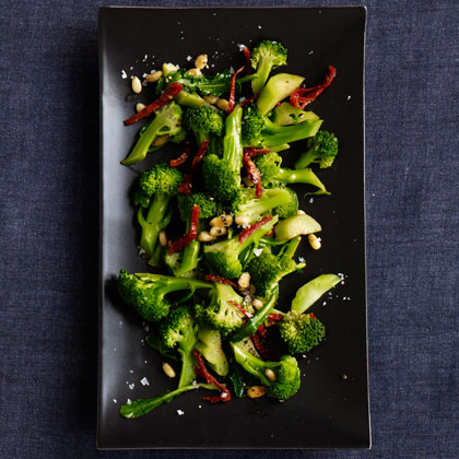 <p>Broccoli with Sun-Dried Tomatoes and Pine Nuts</p>