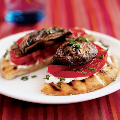 <p>Grilled Portobello-Goat Cheese Pitas</p>