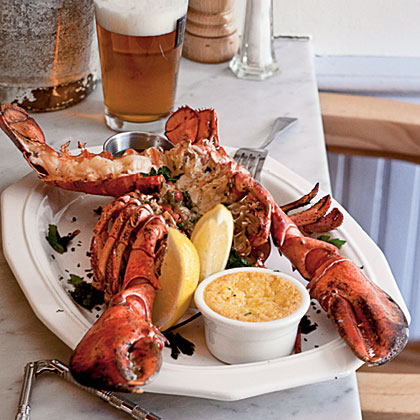 Split Grilled Lobsters with Herb Butter