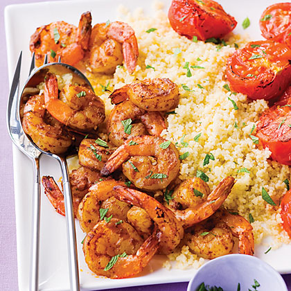 Harissa Shrimp with Couscous, Tomatoes, and MintRecipe
