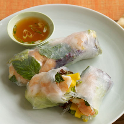 <p>Shrimp and Mango Summer Rolls with Sweet and Spicy Dipping Sauce</p>