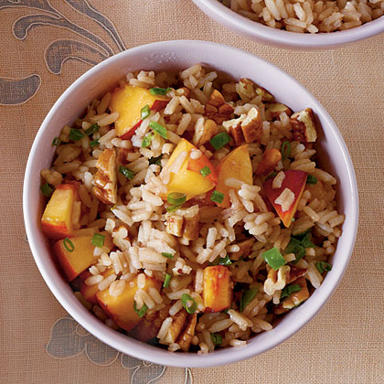 Sweet Tea Rice with Jalapeno, Peaches, and Pecans