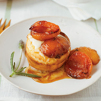 Grilled Apricot Puffs with Honey Creme Fraiche