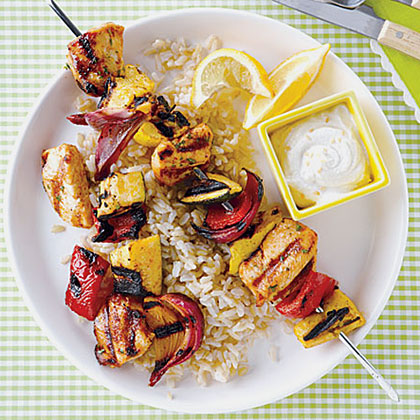 Chicken Kebabs with Yogurt-Tahini Sauce