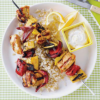 Chicken Kebabs with Yogurt-Tahini SauceRecipe