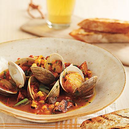 Grill-Braised Clams and Choirzo in Tomato-Saffron Broth Recipe