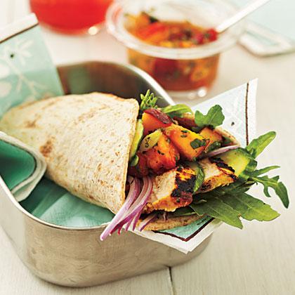 Curry Chicken Wraps with Nectarine Chutney