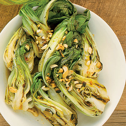 Spicy Garlic Grilled Baby Bok Choy