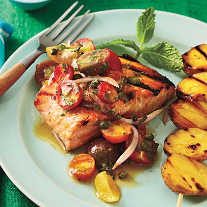 Grilled Char with Yukon Golds and Tomato-Red Onion RelishRecipe