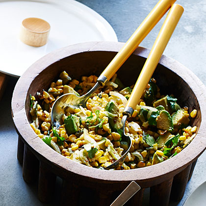 Grilled Corn Poblano Salad with Chipotle Vinaigrette