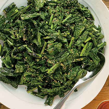 Crispy Grilled Kale with Creamy Sesame Dressing Recipe