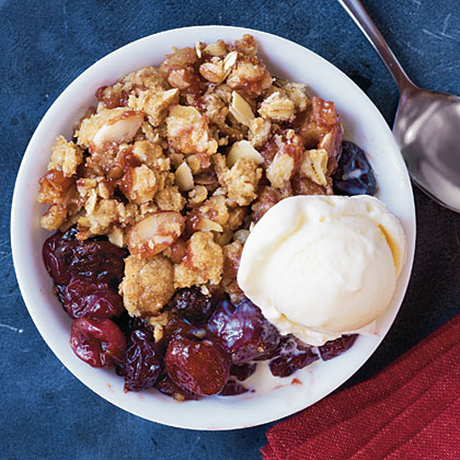 """Wow! This was great. The mixture of tart and sweet cherries was PERFECT. Great hot or room-temperature. Super quick and easy too. I wouldn't change a thing - absolutely delicious."" —Kayte401Cherry-Almond Crisp Recipe"