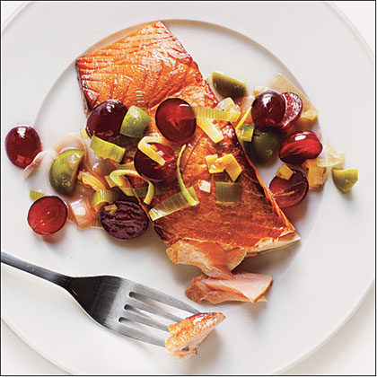 Plank-Grilled Salmon with Grape RelishRecipe