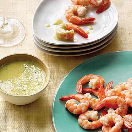 Poached Shrimp with Meyer Lemon Ginger SauceRecipe