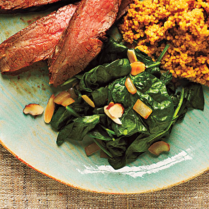 Spinach with Toasted AlmondsRecipe