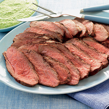 Butterflied Leg of Lamb with Pesto Aioli RecipeLeg of lamb is a little like roast beef in that it is best served warm, but it also tastes mighty good at room temperature. Pesto alone is a classic accompaniment for grilled lamb.