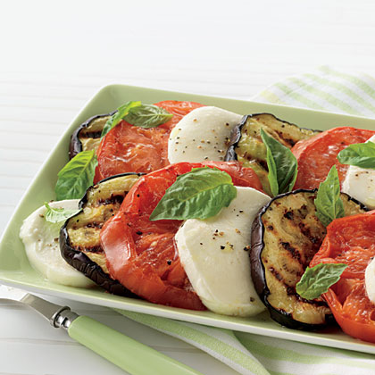 Eggplant and Tomato Salad RecipeDouble up on potassium with the combination of tomatoes and grilled eggplant. The eggplant makes a nice addition to a classic caprese salad, pairing beautifully with the tomatoes. Tomatoes also contain the antioxidant lycopene, which can help lower the risk of breast cancer.