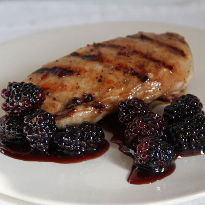 Pomegranate-Glazed Chicken With Blackberries