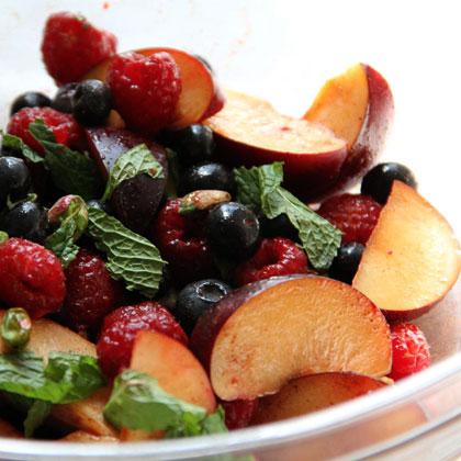 Christmas Fruit Salad.Red And Black Fruit Salad