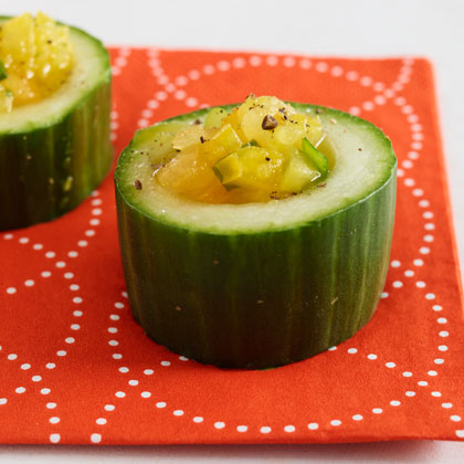 <p>Yellow Tomato Gazpacho in Cucumber Cups</p>