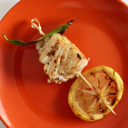 <p>Grilled Halibut, Bay Leaf, and Lemon Kebabs</p>                                  <p></p>                                  <p></p>                                  <p></p>