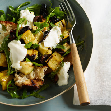 Grilled Panzanella with Arugula, Burrata, Summer Squash, and Olives
