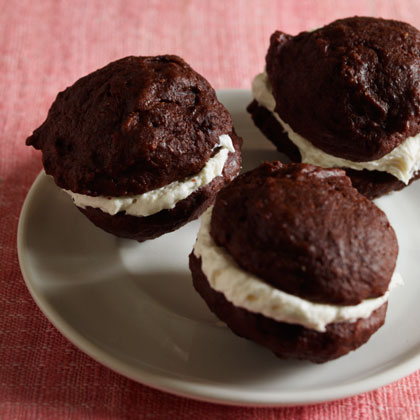 Mini Whoopie Pies RecipeThese bite-sized treats are heart-healthy! The secret is unsweetened applesauce and vegetable oil, not vegetable shortening.
