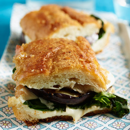 Pressed Sandwich with Roasted Eggplant Recipe | MyRecipes