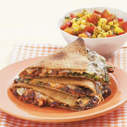 Black Bean Quesadillas with Warm Corn Salsa