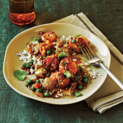 Bombay Shrimp Curry with Coconut Rice
