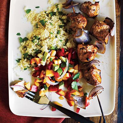 Chicken Kebabs and Nectarine Salsa