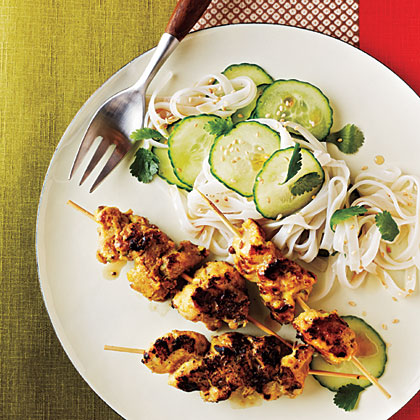 Chicken Satay                            RecipeCreate an Indonesian-style meal by serving these spiced grilled chicken skewers with rice noodles tossed with cilantro, sesame seeds and sesame oil.