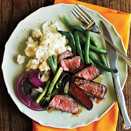 Grilled Steak with Onions and Scallions Recipe