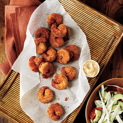 Serve a lighter version of fried shrimp with a creamy Creole dipping sauce. Fresh, seasonal veggies make the perfect accompaniment for this 15-minute dinner.Pan-Fried Shrimp