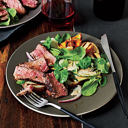 Tuscan-Style New York Strip with Arugula-Artichoke Salad Recipe