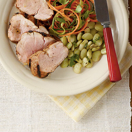 Caribbean Pork with Butter Pea TossRecipe