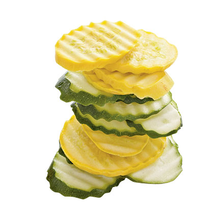 "Fresh Squash Chips RecipeWe ""ruffled"" these chips using a crinkle cutter, available for about $8 at kitchen or homes stores or online. For smooth slices, use a chef's knife."