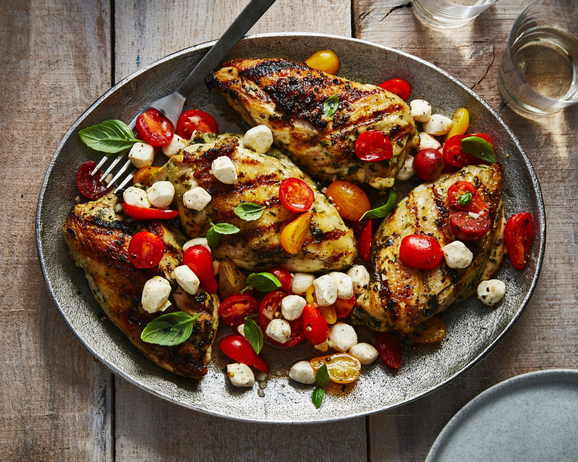Garlic Basil Grilled Chicken With Caprese Salsa Recipe Myrecipes