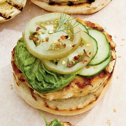 Green Tomato-Feta Burgers