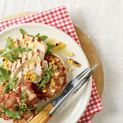 Grilled Chicken with Fresh Corn Cakes