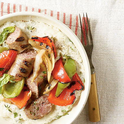 Grilled Peppers and Sausage with Cheese Grits
