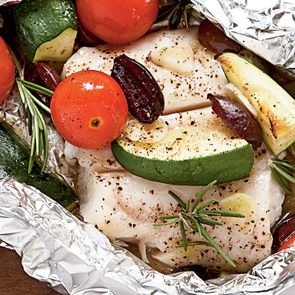Halibut with Tomatoes, Rosemary, and Zucchini in Foil PacketsRecipe