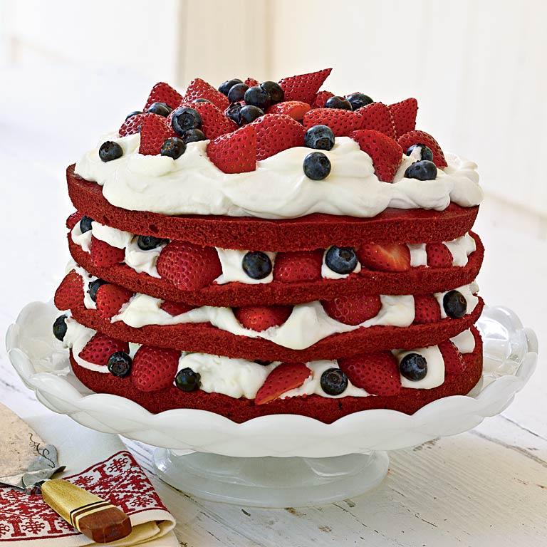 Red, White, and Blue Cake Recipe | MyRecipes.com