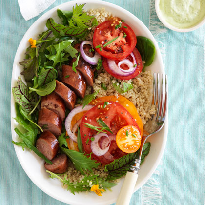 <p>Tomatoes With Sausage and Green Goddess Dressing</p>
