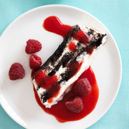 <p>Chocolate Icebox Cake With Raspberry Sauce</p>