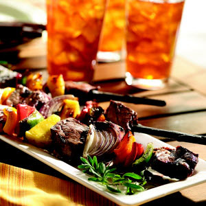 Grilled Beef and Vegetable Kabobs with Crisco® Light Tasting Olive Oil
