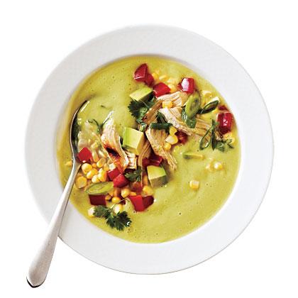 Avocado-Corn Chowder with Grilled Chicken