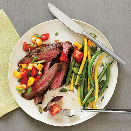 <p>Peppered Flank Steak and Salsa</p>